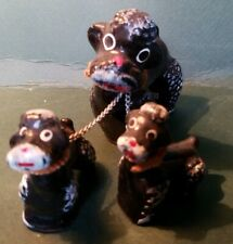 Vintage Redware Poodle Mom and Pup Chain Puppies Japan Figurine