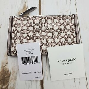 NWT Kate Spade Link Small Slim Bifold Woman Wallet In White Multi Beige WLRU6294