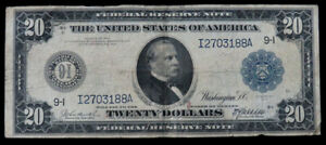SERIES 1914 US $20 FRN LARGE SIZE CURRENCY FR# 996 BURKE / MCADOO