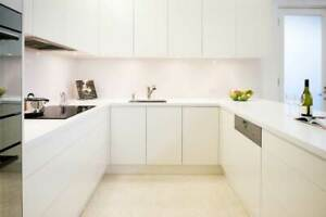 kitchen cabinets in U shape with island