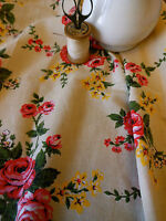 Antique Vintage Shabby Retro French Roses Cotton Fabric ~ yellow pink 1950-1960