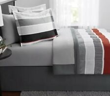 New 6 Piece Twin Size Comforter Set Red Grey Boy's Bedding With Sheets Bed Skirt