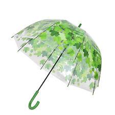 Stick Hook Handle Clear Transparent Dome Autumn Maple Leaf Rain Umbrella NG