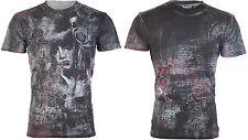 Affliction Mens S/S T-Shirt Eden Roses Grey Foil Tattoo Biker Vintage S-3Xl $66