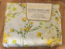 Vintage Springmaid Marvelaire Windrift Yellow Floral Double Flat Bed Sheet NEW