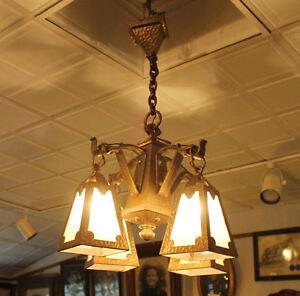 Arts & Crafts mission Hand Hammered hanging slag light glass Chandelier fixture