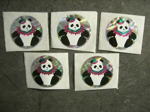 """5 Ct Vintage Reflective Prizm Panda Bear With Party Hat Unused 2"""" Sticker Lot"""
