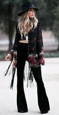 Torn By Ronny Kobo Black Velvet Hippie Bellbottoms Sz S New $345