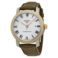 Tissot T-Classic Bridgeport Powermatic 80 Silver Dial Brown Leather Mens Watch