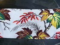 Art Deco Falling Leaves Barkcloth Vintage Fabric Drape Curtain Valance 1940's