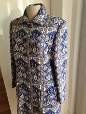 Vintage Blue & White Brocade/Tapestry/Finely-Woven Coat by Carlye, S/M