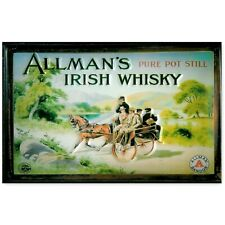 ALLMAN'S IRISH WHISKY :EMBOSSED(3D) METAL ADVERTISING SIGN 30X20cm HORSE & CART