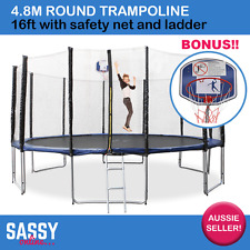 Round Trampoline 4.8m 16ft W/Safety Net Ladder Pad Springs BONUS Basketball Hoop