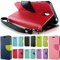 Tough Wallet Pouch Flip Stand Protective Phone Cover Case for HTC Desire 612