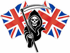 Racing Grim Reaper Skull Union Jack Flag Car  Bike Van Sticker LSUJ#2 Small