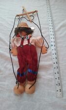 rare vintage clown marionette string puppet hand crafted adjustable wood handle