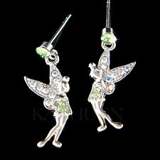 Tinkerbell w Swarovski Crystal Green Pixie Tinker fairy ANGEL Girls Earrings New