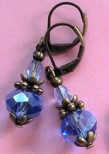 SAPPHIRE CRYSTAL drop earring BRONZE LEVERBACK handcrafted