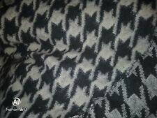 tissu laine epaisse blanc/gris pied de coq large 160x150 cm