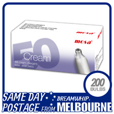 SAME DAY POSTAGE MOSA CREAM CHARGERS 50 PACK X 4 (200 BULBS) WHIPPED N2O