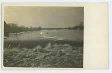 RPPC Ice Flood over a Spillway, River IA Iowa? Vintage Real Photo Postcard