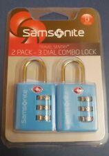 SAMSONITE TSA  Approved 2 pack Dial COMBO Locks Light aqua BLUE Travel Sentry