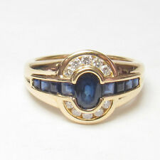 Estate 18K Yellow Gold 0.60 Ct Natural Oval Blue Sapphire And Diamond Ring