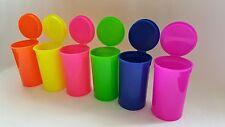 (6) Neon Squeeze Pop Top 13 Dram Medicine Container Pill Bottle Tubes Doob Vial
