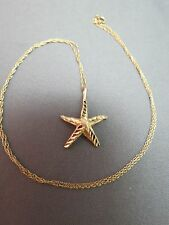 "14k Yellow Gold Starfish Pendant Chain Necklace 18"" Long Diamond Cut Solid 1.84g"