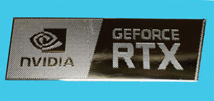 Nvidia GeForce RTX Silver Chrome Sticker 12 x 35mm Same Design As Nvidia OEM