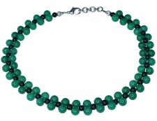 Green Aventurine and Black Obsidian Gemstone Choker Bead Necklace