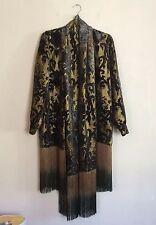 =BOHEMIAN VINTAGE= ANNA SUI Black Gold Print Fringe Scarf Velvet Coat Jacket US4