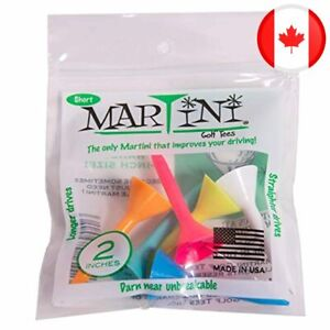 """Martini Golf Tees 2"""" Durable Plastic Tees (6-Pack), Assorted Colors"""
