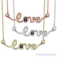"""Love"" Word Pendant Evil Eye Charm Turkish Nazar Greek Sterling Silver Necklace"