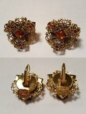 Boucles d'oreilles vintage ROSSi dormeuses ouvragées ambre. Made In France