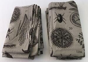 "IKEA BLAVINGE 2 Panel Curtain Drape Beige/Dark Brown Botanical Insects 57x98"""