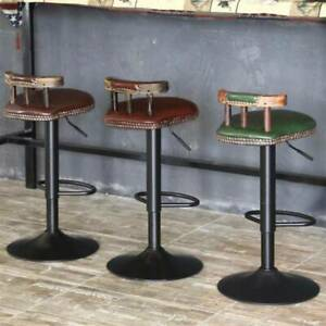 Retro Industrial Urban Bar Stool Chair Leather Top Vintage Cafe Counter Seat