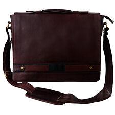 Men's Thick Brown 100% Genuine Leather Messenger Bag Laptop Satchel Briefcase