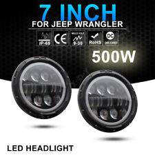 "For Jeep Wrangler JK 7"" 500W Round LED Headlight High Low Combo Beam Fog Lamp"