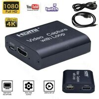 HDMI Video Capture Card Screen Record USB2.0 1080P Loop-out Game Webcam Streamer