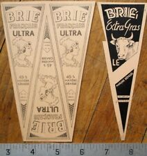 Brie Cheese - Pair Printer's Proof 1930s Bottle Labels - Cow & Woman
