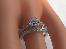 Cz Band Ring Set Sterling Silver 2 pc