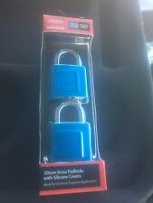 Lockwood 30mm Brass Padlock With Blue Silicone Cover x 2