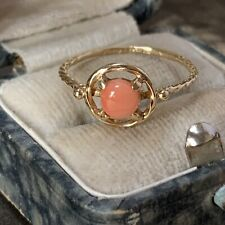 14ct Gold Coral Ring Vintage UK M 1/2
