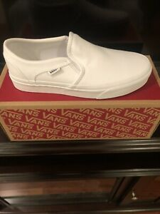 Woman's Vans asher white canvas slip on sneakers Size 8.5