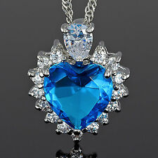 Xmas Fashion Jewelry Heart Cut Blue Aquamarine Pendant Jewellery Chain For Dress