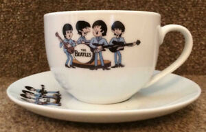 THE BEATLES cartoon WHITE CUP & SAUCER Ideal Birthday Gift RETIREMENT Christmas