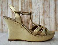 COACH 8.5 Gabby Metallic Gold Shimmer Leather Wedge Platform Sandals Heels