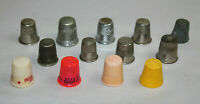 Vintage Lot of 13 Sewing Thimbles Metal and Plastic