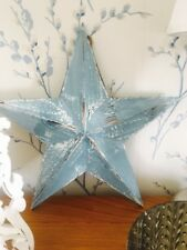 40cm Blue Wooden Barn Star Twine For Wall Hanging Rustic Traditional Style
